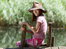 Girll with cowboy hat Royalty Free Stock Images