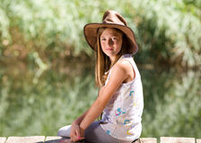 Girll with cowboy hat Stock Image