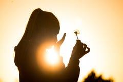 Girll de la silueta Fotografía de archivo libre de regalías