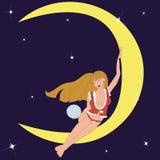 Girlon луна бесплатная иллюстрация