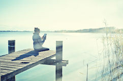 Free Girlon The Wooden Jetty Stock Image - 51440301