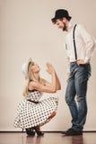 Girlriend που προσπαθεί να πείσει το φίλο Στοκ Φωτογραφία