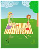 Girls_002. Two girls on picnic on the nature vector illustration