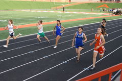 Girls 100 Meter Race Royalty Free Stock Photography
