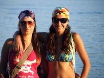 Girls. Two girls having fun at the sea Stock Photos