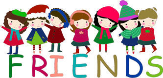 Girls. Five cute group of little girls Royalty Free Stock Photo