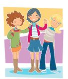 Girls. Illustration of a group of three teen girls Stock Photo