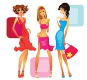 Girls. Vector illustration of fashionable young girls Royalty Free Stock Images