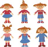 Girls. Six girls in jeans clothes stock illustration