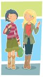 Girls. Illustration of two teen girls walking and chatting together royalty free illustration
