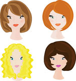 Girls. Four portraits of womans with varicolored hair stock illustration