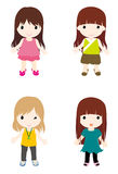 Girls. The cartoon girl series——Long hair Stock Image