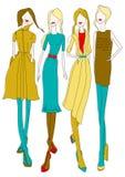 Girls. Sketch of girls demonstrating fashion dresses Stock Images