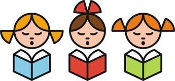 Girls. Three girls schoolgirl reading book stock illustration