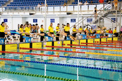 Girls 200 Meters Breaststroke Swimming Action Stock Photo