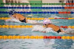 Girls 200 Meters Breaststroke Swimming Action Stock Images