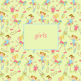 Girls. Cheerful girls with toys and others objects vector illustration