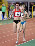 Girls on the 3,000 meters dash Stock Images