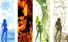 Girls. Grunge floral, snow, fire background.. Grunge floral, snow, fire background stock illustration