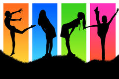 Girls. Four girls on verycolor background Stock Photo