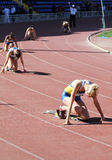 Girls on the 400 meters race Royalty Free Stock Photos