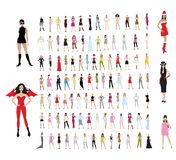 Girls. About 100 girls in different dresses of different styles Stock Image