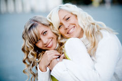 Girls. Sisters playing outdoors - faces closeup Stock Images
