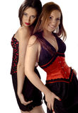 Girls. Two girls using corsets in a white background Stock Images