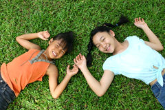 Girls. Two girls in the park royalty free stock photo