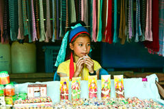 Girls 8-10 years selling. CHIANGMAI, THAILAND - October 24: Girls 8-10 years selling the knife on October 24, 2010 in Chiang Mai, Thailand Stock Photo
