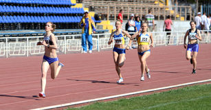 Girls on the 800 meters race Royalty Free Stock Photos