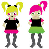 Girls. Two vector drawings of girls Stock Images