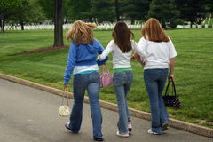 Girls. Walking arm-in-arm at Arlington National Cemetery Royalty Free Stock Photography