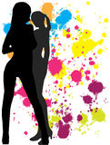 The girls - an abstract background. Abstract background with girls, preparation for designers, a flyer, a banner, the poster Royalty Free Stock Photos