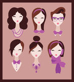 Girls with accessories. Collection of fashion girls with accessories: necklace, collar, bow, scarf stock illustration