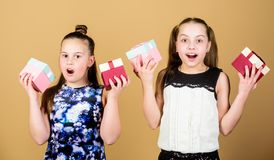 Girls adorable celebrate birthday. Kids happy loves birthday gifts. Shopping and holidays. Sisters enjoy presents stock image