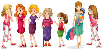 Girls of all ages. Illustration of the girls of all ages on a white background Stock Image