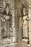 Girls on the all of Bayon temple. Angkor, Cambodia royalty free stock photo