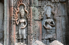 Girls on the all of Bayon temple, Angkor, Cambodia. Asia stock photography