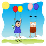 Girls&balloon illustration stock