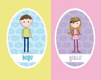 Girls And Boys Sign Stock Images
