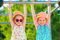 Girls And Jungle Gym Stock Images