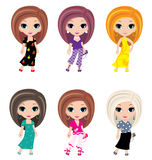 Girls animated in different clothes Royalty Free Stock Image