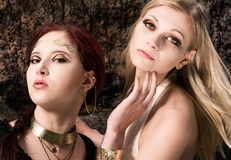 Girls and antique jewels Royalty Free Stock Photo