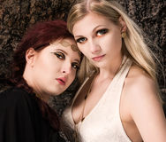 Girls and antique jewels Royalty Free Stock Photography