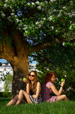 Girls with apples Royalty Free Stock Image