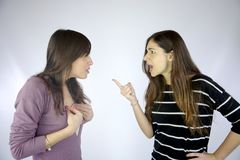 Girls arguing strongly very angry Stock Images