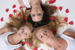 Girls As Star With Roses Royalty Free Stock Image