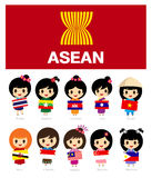 Girls of Asean with flag - AEC Stock Images