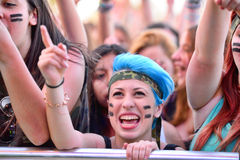 Girls from the audience in front of the stage, cheering on their idols at the Primavera Pop Festival of Badalona Stock Photography